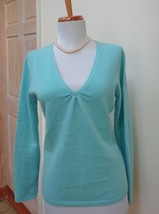 NEW W/ DEFECT -TALBOTS Heather Turquoise 100% Cashmere V-Neck Sweater Si... - $29.69