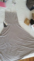 NWT INC. BEIGE STRIPPED CONVERTIBLE DRESS SKIRT SZ S, 2IN1, ANKLE MAXI 4... - $29.69