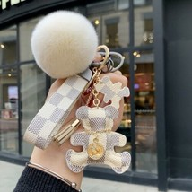 White Checkered Baby Bear Keychain Bag Charm  - $19.79