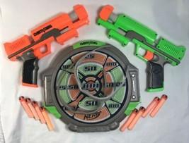 Hasbro Nerf Dart Tag LOT Single Shot Guns (Orange & Green) Target Glasses Darts - $24.49