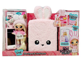 New Na Na Na Surprise 3 in 1 Backpack Bedroom Pink Bunny Playset Limited Edition - $65.54