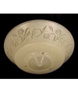 "Art Deco 16"" Ivory Floral 1930s Glass Ceiling Light Shade 3 Hole Bead Ch... - $44.95"