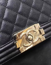 NEW 100% AUTHENTIC CHANEL 2017 BLACK QUILTED CAVIAR SMALL BOY FLAP BAG GHW image 9