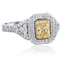 1.26 TCW Radiant Cut Yellow Diamond Engagement Ring Split Shank 18k Whit... - $2,474.01