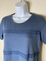 LOGO Lori Goldstein Womens Size XS Blue Crochet Striped Tunic Short Sleeve - $28.81