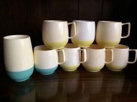 Lot of 8 Vintage Retro VACRON Plastic cups, mugs tumbler yellow aqua Mid... - $33.65