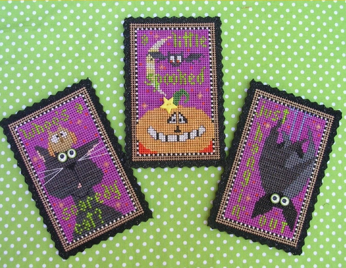 Triple Treat Halloween Ornament cross stitch kit  Val's Stuff