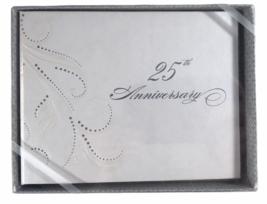 Hortense B. Hewitt Co 25th Anniversary Guest Book Silver - $15.83