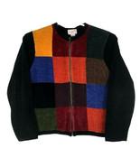 RONNIE SALLOWAY Womens Full Zip Sweater - XL - Black Multi-Color Block P... - $33.91