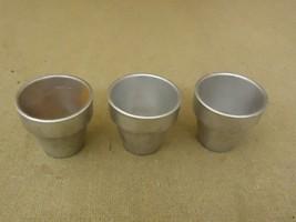 Designer Lot of 3 Miniature Pots 2 1/2in Diameter x 2 1/4in H Silver Cer... - $12.30