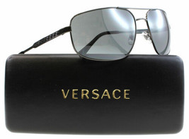 Nuovo Versace Occhiali da Sole VE2158 1316/6G Gunmetal Pilota Telaio W/G... - $97.02
