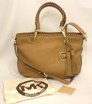 New Michael Kors Bennet Tan Brown Leather Med WhipStitch Handbag Tote 30... - $146.52