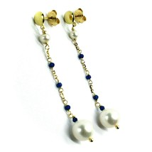 18K YELLOW GOLD PENDANT EARRINGS, FW WHITE PEARLS AND BLUE CUBIC ZIRCONIA image 2