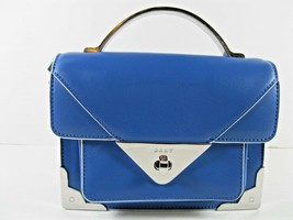 DKNY Blue White NEW $198 Crossbody Hand Bag Small Leather Turn Lock Top ... - $78.41