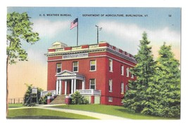 Burlington VT U.S. Weather Bureau Dept of Agriculture Vintage Linen Post... - $4.99