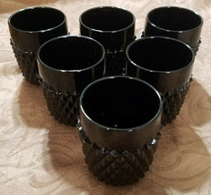 Vtg Tiara Exclusives Cameo Blk Diamond Pt Old Fashioned Glasses, Set of ... - $50.40