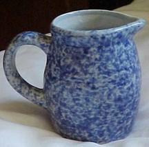 """Spongeware Splatterware Pitcher Blue & White 3-1/2""""T,4""""wide w/spout &han... - $6.30"""
