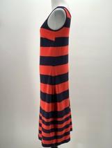Tommy Hilfiger Women's Red Orange Navy Striped V-Neck Sleeveless Dress S... - $14.85