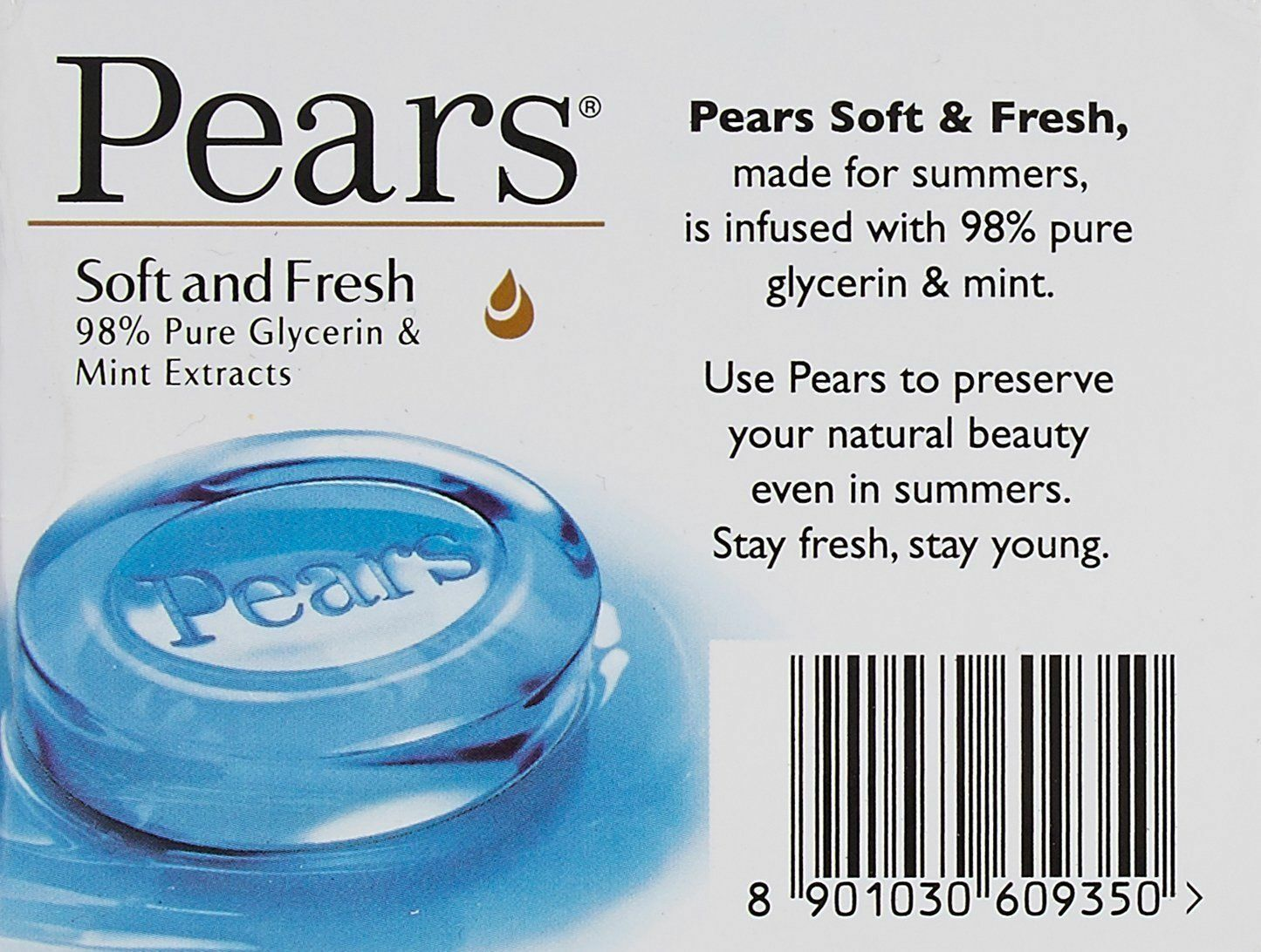 Pears Soft Fresh Soap glycerin extracts Moisturizes skin  75 gm X 2 pack