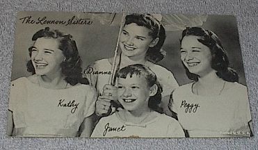 1950's Carnival Arcade Card Pop Vocal Group Lennon Sisters