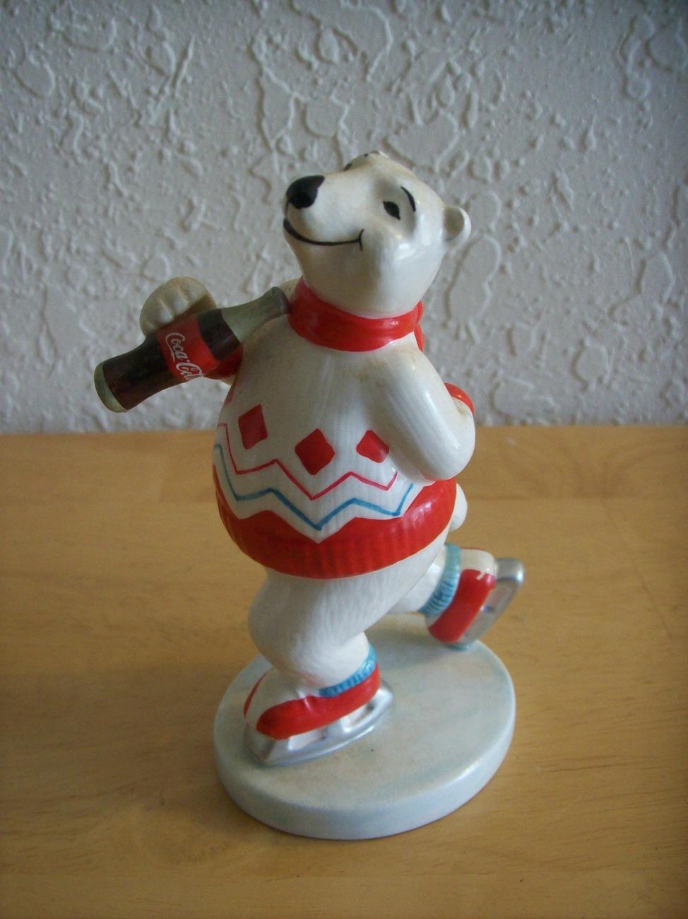 1995 Coca Cola Polar Bear Skating Figurine