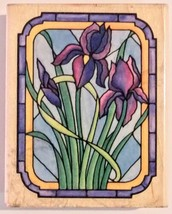 "Stained Glass Iris 3 3/8"" Wood Mounted Rubber Stamp by Rubber Stampede A... - $4.94"