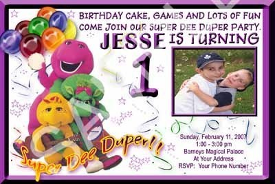 Primary image for Barney BJ Baby Bop Photo Custom Birthday Party Invitation