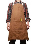 Waxed Canvas Work Shop Apron Bib With Six Pockets Waterproof Thick Heavy... - $52.96