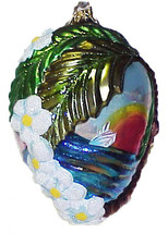 Large Oval Glass Christmas Ornament with Palm Tree, Lei & Steamship - Po... - $15.00