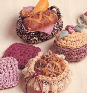 Rag crochet patterns Fabric Gift Baskets,  baby baskets image 2