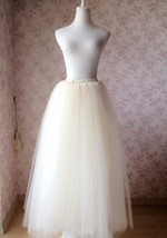 Ivory White Tulle Maxi Skirt 6-Layered Ivory Wedding Tulle Skirt Puffy Tutu - $55.00 - $59.99