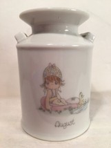 "Enesco Precious Moments Vase August Cream Can Vase Porcelain 4"" tall - $7.92"
