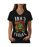 Skull Head Hello Creeps Shirt  Women V-Neck T-shirt - $12.99+