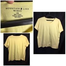 Mountain Lake Blouse Size 1X Short Sleeve Yellow 100% Cotton V-Neck - $7.99