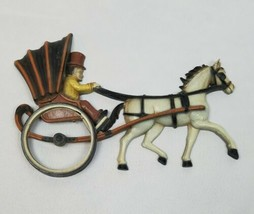 Vintage Homco 1975 plastic wall hanging decor mid century carriage man h... - $30.69