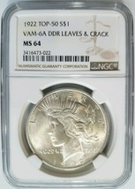 1922 Silver Peace Dollar NGC MS 64 Vam 6A DDR Leaves & Crack Mint Error ... - $669.99