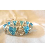 New Ocean Blue Crystal Clear Beaded Stretch Silver Rhinestones Sparkle B... - $4.99