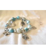 New Beach Outdoors Charm Turquoise & White Beaded Stretch  Bracelet - $4.99