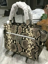 MICHAEL KORS TINA LG TZ Satchel Messenger Bag NATURAL Embossed Leather $448 - $138.59