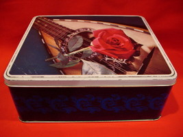 Vintage Gray Dunn Biscuits Cookie Tin 8 String Guitar Red Rose Flower So... - $14.95