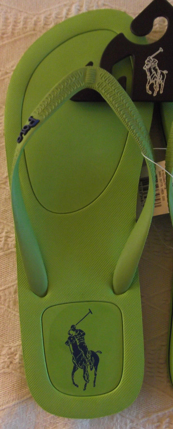 NEW POLO Ralph Lauren Halesowen rubber thong Green + navy Logo flip flops 11D