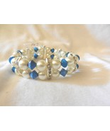 New!! Multi Colored Beads Stretch Silver Rhinestones  Faux Pearl  Bracelet  - $4.99