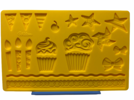 Wilton Fondant and Gum Paste Silicone Mold Kids Party Yellow 23 Themed C... - $4.99