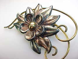 GOLD FILLED Retro Vintage FLOWER BROOCH Pin - 3 inches image 2
