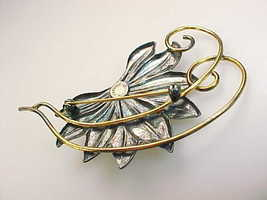 GOLD FILLED Retro Vintage FLOWER BROOCH Pin - 3 inches image 4