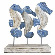 WorldBazzar Hand Carved Beautiful 3 Seahorse Family Sculpture ON Stand R... - $19.74