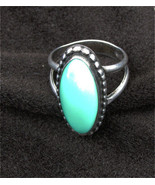 Sterling green agate bezeled ring size 6 long narrow oval stone - $18.00