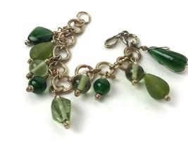 Vtg 70s Green Glass Bead Charm Bracelet Boho Hippie Gold Tone dangler je... - $19.79