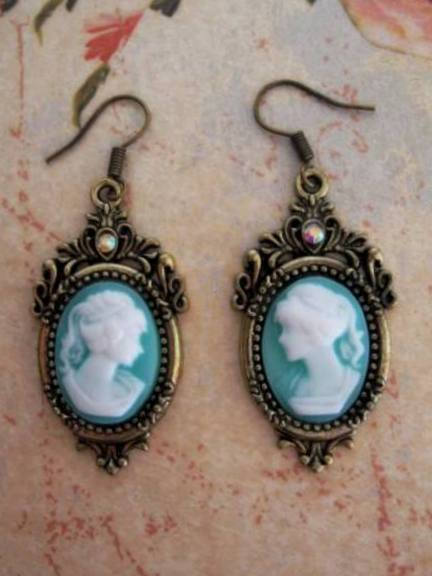 Spell Bound Cameo Earrings Cast for Increased Beauty Attraction Self Confidence