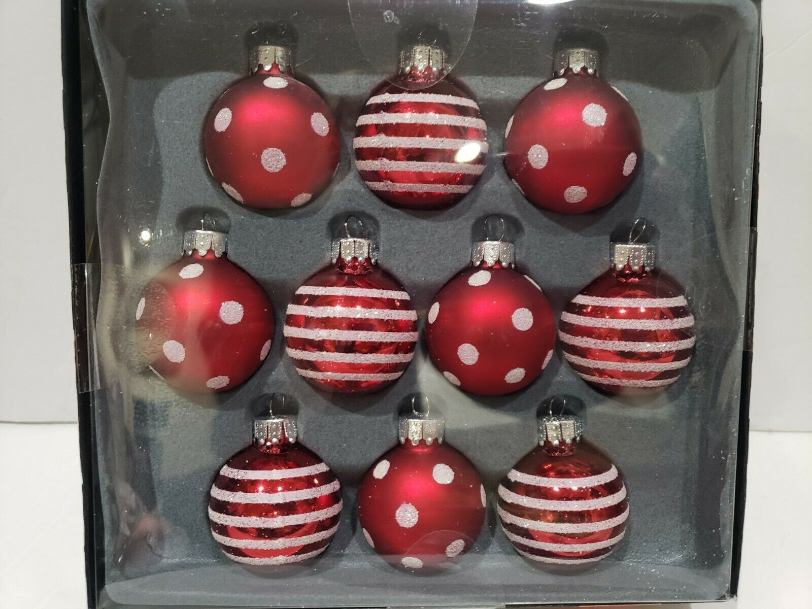 "Primary image for Christmas MINI Glass Red White Peppermint Ornaments Decor 1.5"" BOX of 10"
